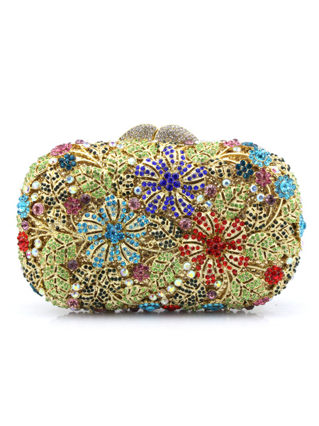 Milanoo Evening Clutch Bags Acrylic Fiber Crystal Metallic Magnetic Snap Closure Wedding Handbag