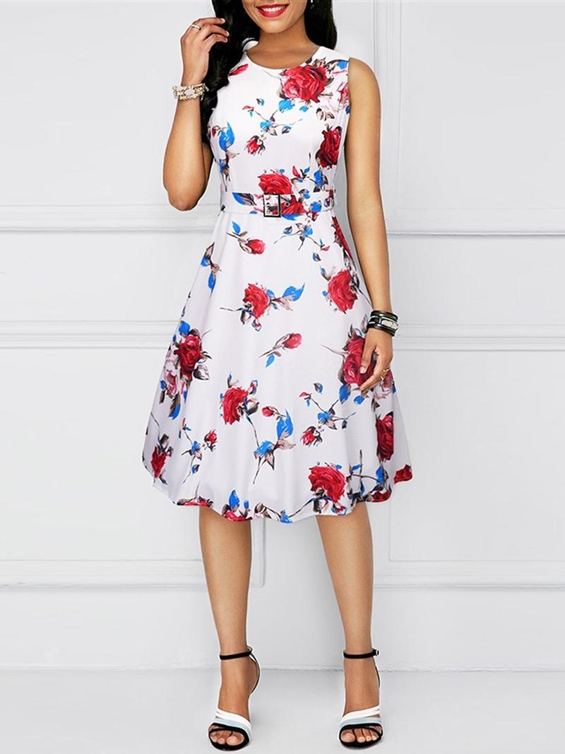 Ericdress Round Neck Knee-Length Sleeveless Office Lady Dress