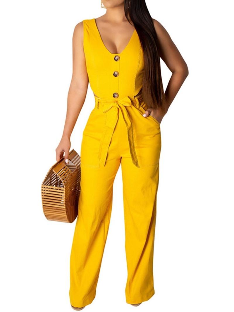 Ericdress Plain Button Lace-Up Dressy Office Lady Slim Jumpsuit