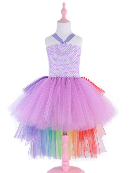 Milanoo Rainbow Unicorn Dresses Kids Little Girls Tutu Fancy Dress Halloween Costume