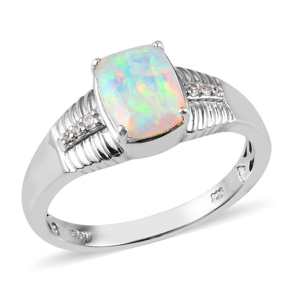 Platinum Over Sterling Silver Opal Zircon Ring Mens Ct 2.19 (Ring 12)