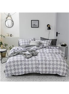 Gray And White Rhombus Pattern 4-Piece Cotton Bedding Sets/Duvet Covers