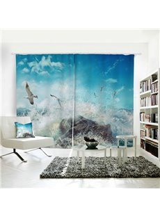 Blue sky Spray and Seagulls Pattern 3D Polyester Curtain