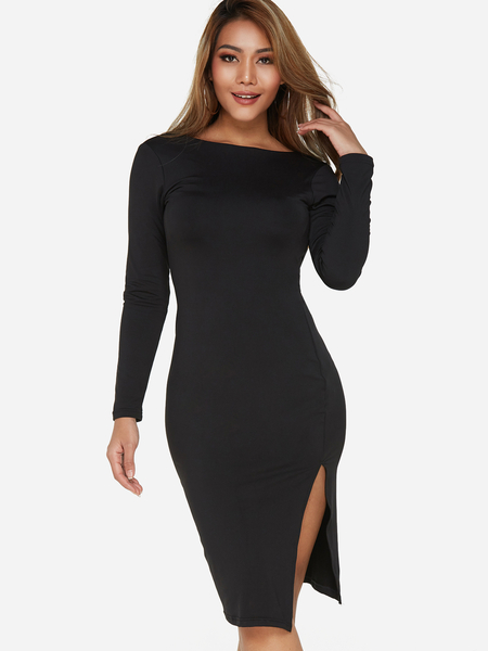 Yoins Black Backless Design Round Neck Long Sleeves Midi Dress