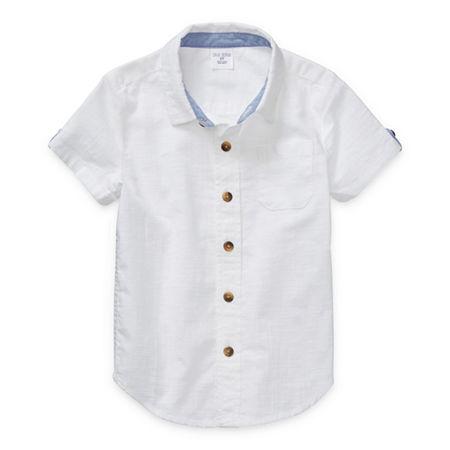 Okie Dokie Toddler Boys Short Sleeve Button-Down Shirt, 3t , White