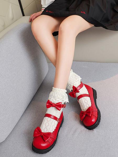 Milanoo Sweet Lolita Footwear Red Bows PU Leather Flat Lolita Shoes