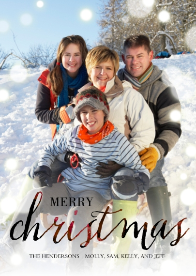 Christmas Photo Cards 5x7 Folded Cards, Premium Cardstock 120lb, Card & Stationery -Ruby Script Christmas