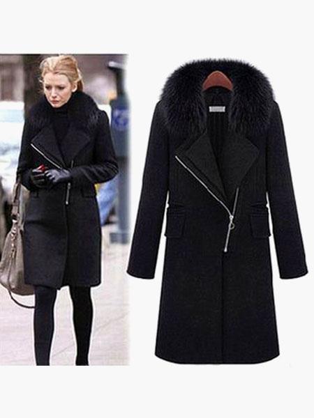 Milanoo Black Winter Coat Faux Fur Collar Long Sleeve Full Zip Women Overcoat
