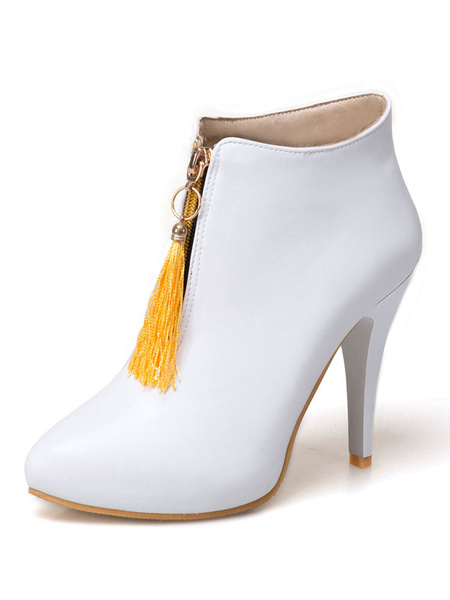 Milanoo Women's Yellow Boots High Heel Pointed Toe Color Block Stiletto PU Booties With Tassel