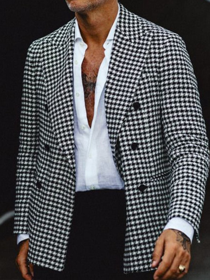 Ericdress Slim Houndstooth Notched Lapel Leisure Blazers