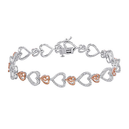 ForeverMine 1/10 CT. T.W. Diamond Heart Two-Tone Bracelet, One Size , No Color Family
