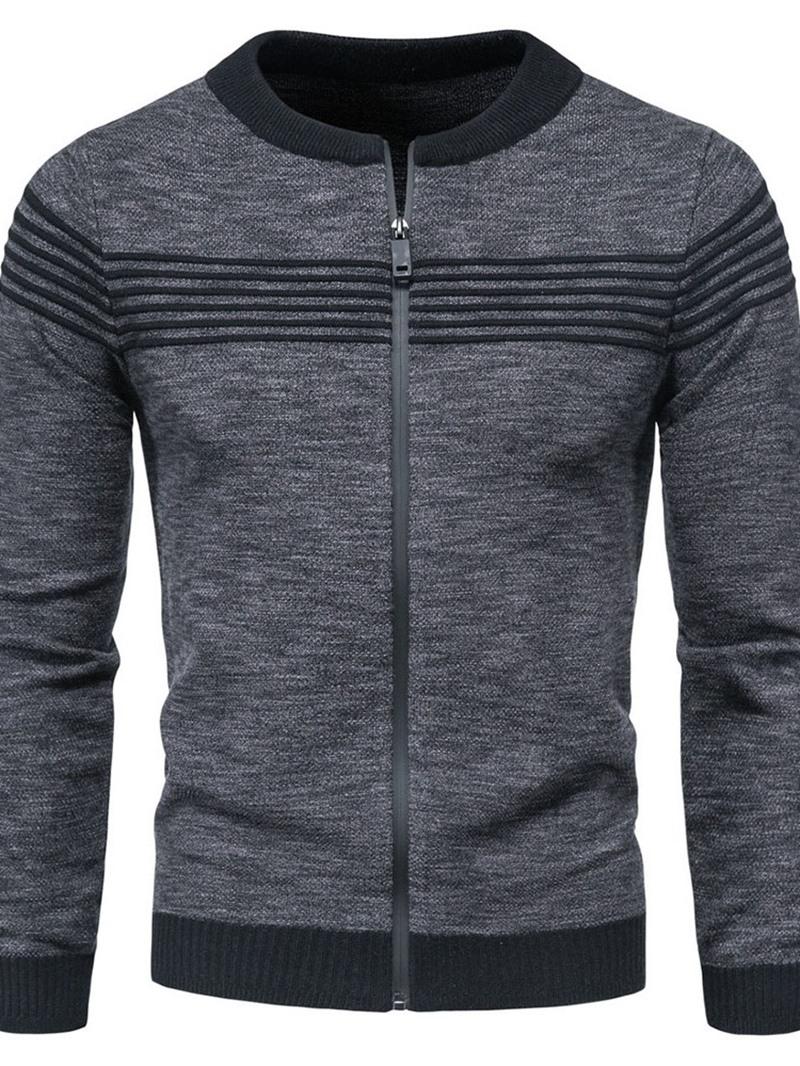 Ericdress Round Neck Patchwork Standard Fall Zipper Sweater