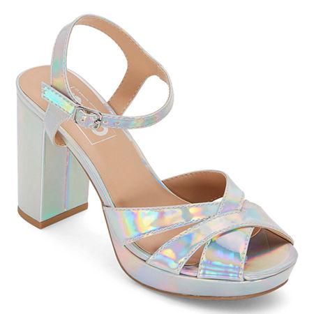 Pop Womens Garcelle Heeled Sandals, 7 Medium, Silver