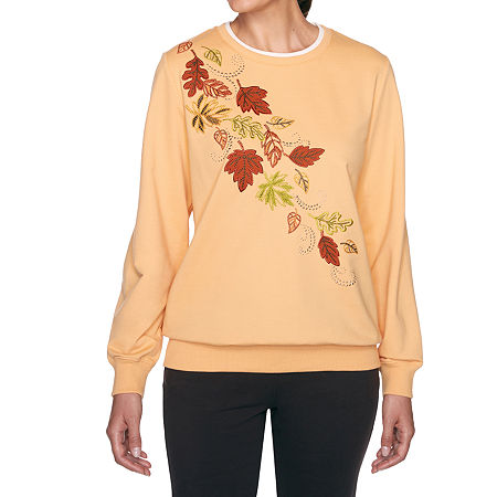 Alfred Dunner Classics Womens Crew Neck Long Sleeve Sweatshirt, Small , Yellow