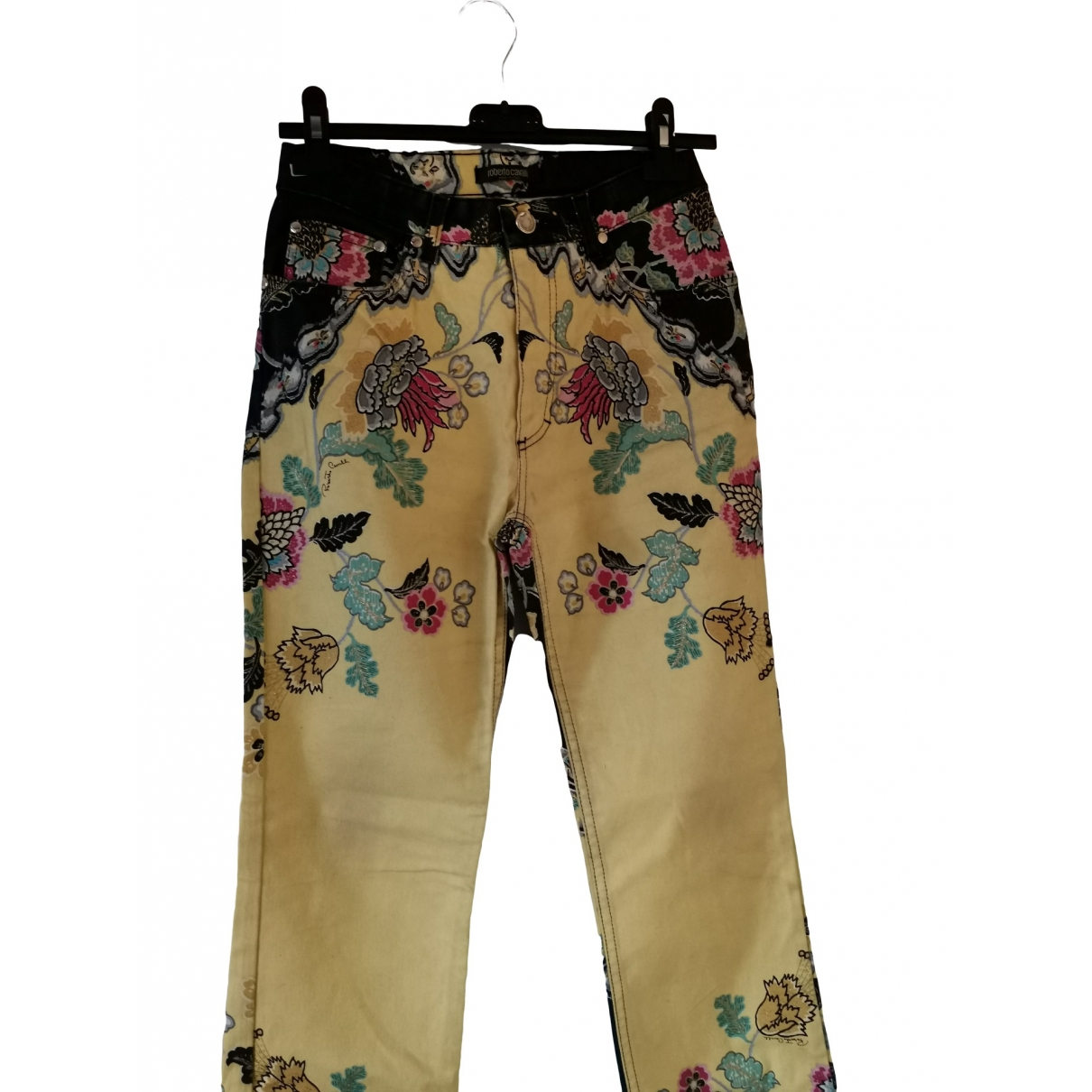 Roberto Cavalli \N Yellow Denim - Jeans Trousers for Women 40 IT