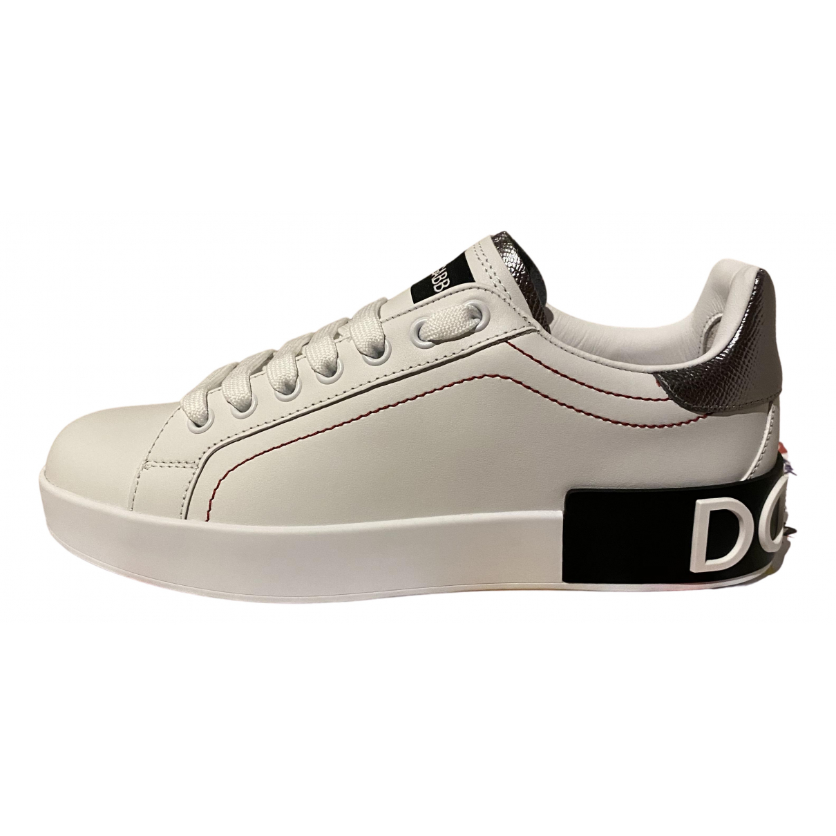 Dolce & Gabbana Portofino White Leather Trainers for Women 37 EU