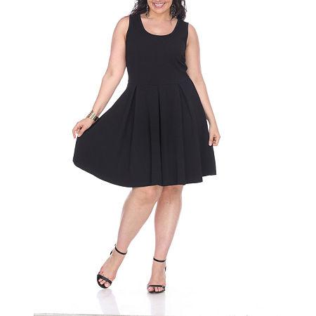 White Mark Crystal Fit & Flare Pleated Dress - Plus, 1x , Black