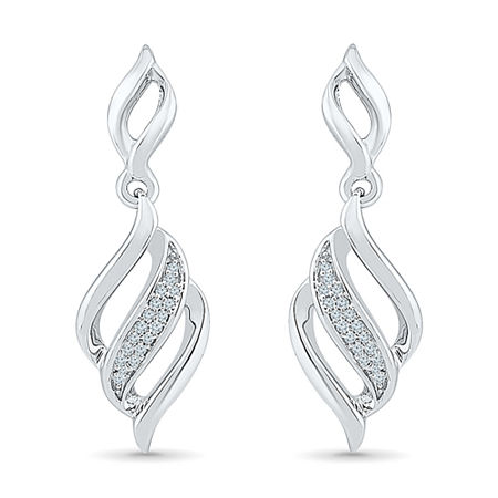Diamond Accent White Diamond Sterling Silver Drop Earrings, One Size , No Color Family