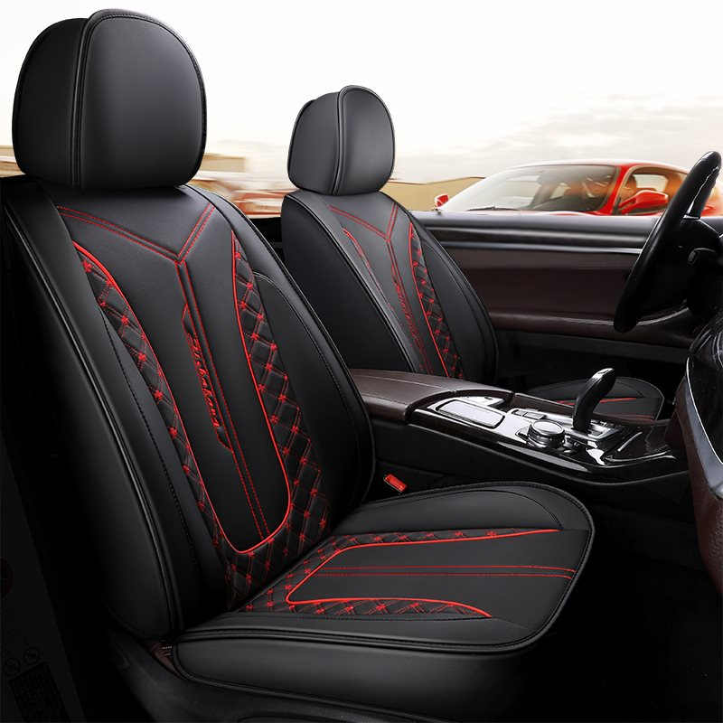 5 Seats Wear Resistant Leather Material Skin Affinity Texture Embroidery Technology Four-Leaf Clover Pattern Universal Fit Seat Covers