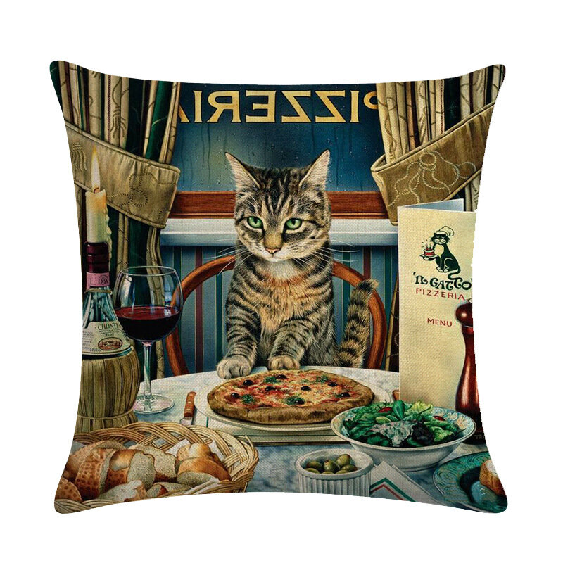 Vintage Style Persian Cat Printed Linen Cushion Cover Home Sofa Art Decor Office Throw Pillow Cover
