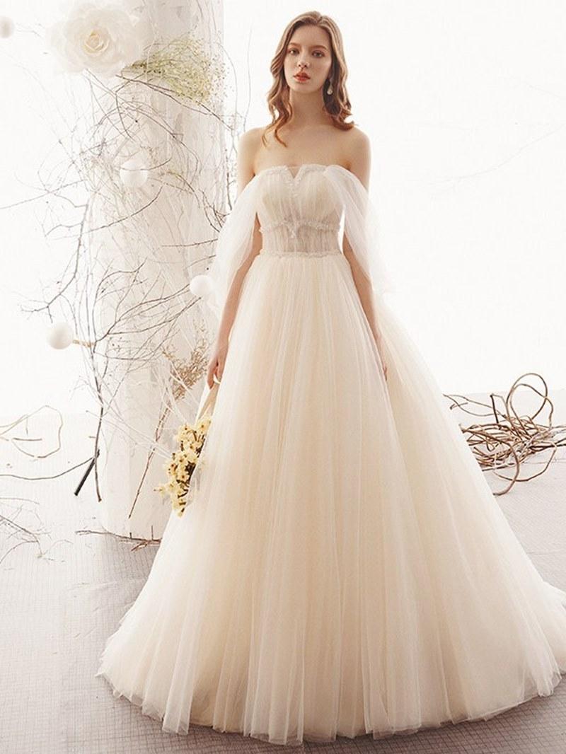 Ericdress Floor-Length Pick-Ups A-Line Strapless Hall Wedding Dress 2020