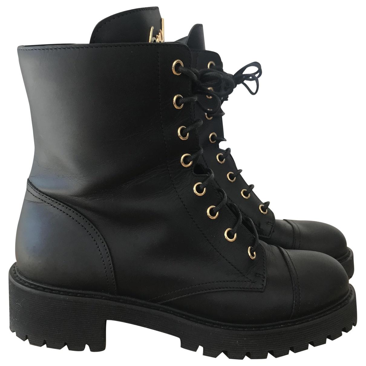 Giuseppe Zanotti \N Black Leather Ankle boots for Women 37 EU
