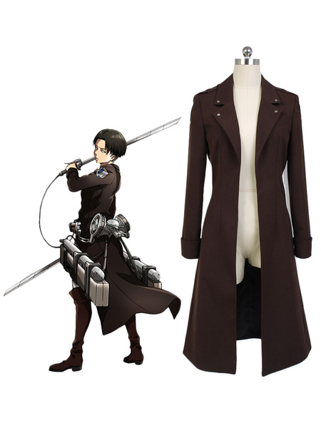 Milanoo Attack on Titan Rivaille Levi Cosplay Costume Long Jacket  Halloween