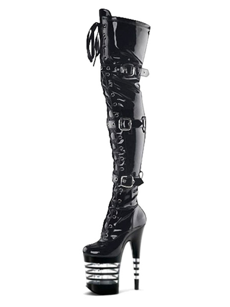 Milanoo Women Sexy Boots Round Toe Lace Up Buckle Cone Heel Rave Club Black Thigh High Boots Stripper Shoes