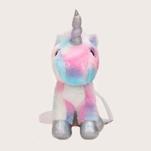 Gradient Fluffy Unicorn Shaped Crossbody Bag