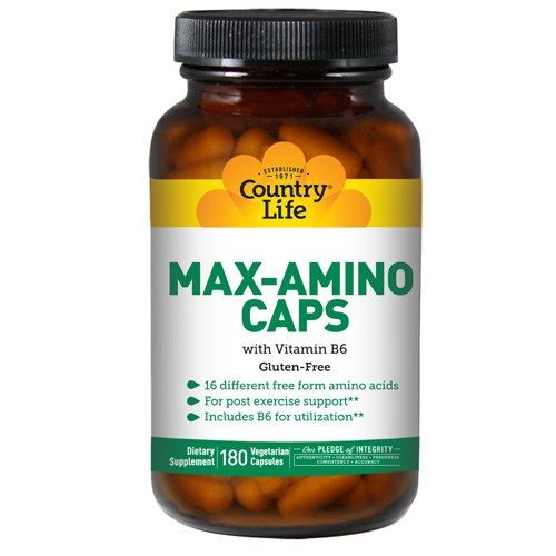 Max-Amino with B-6 (Blend Of 18 Amino Acids) 180 Caps by Country Life