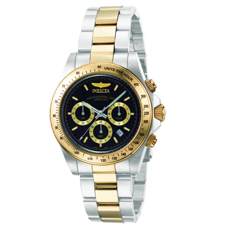 Invicta Men's Speedway Chronograph 9224 Black Two-tone Stainless-Steel Japanese Quartz Dress Watch