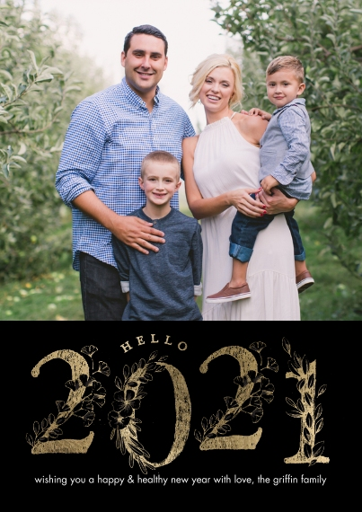 New Year's Photo Cards 5x7 Cards, Premium Cardstock 120lb with Rounded Corners, Card & Stationery -New Year Hello 2021 by Tumbalina