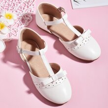 Toddler Girls Perforated Decor T Strap Flats