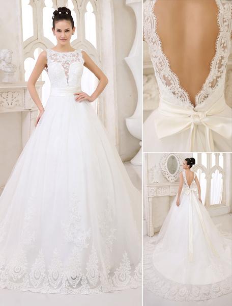 Milanoo Wedding Dresses Ivory Backless Bridal Gown Lace Applique Ribbon Sash Illusion Chapel Train Wedding Gown