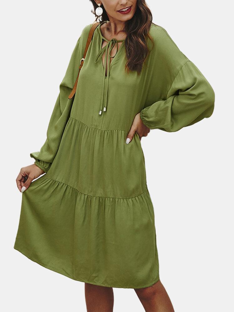 Casual Solid Color V-neck Bishop Sleeve Lace-up Overhead Dress