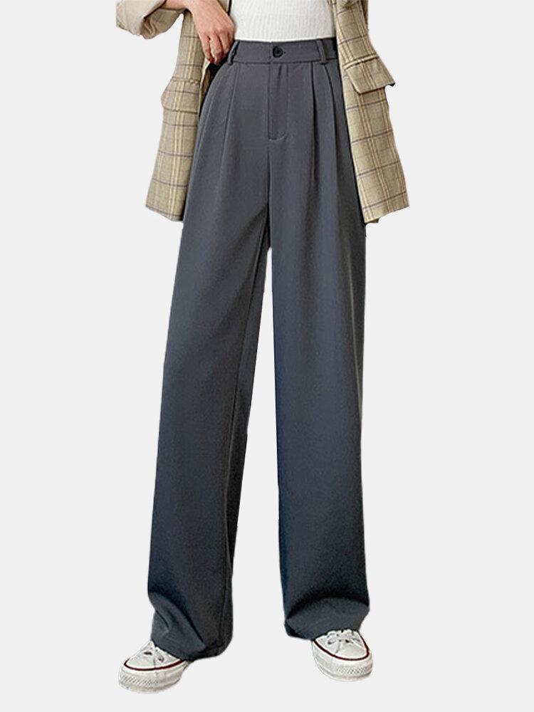Summer Wide Leg Front Zipper High Waist Casual Thin Pants
