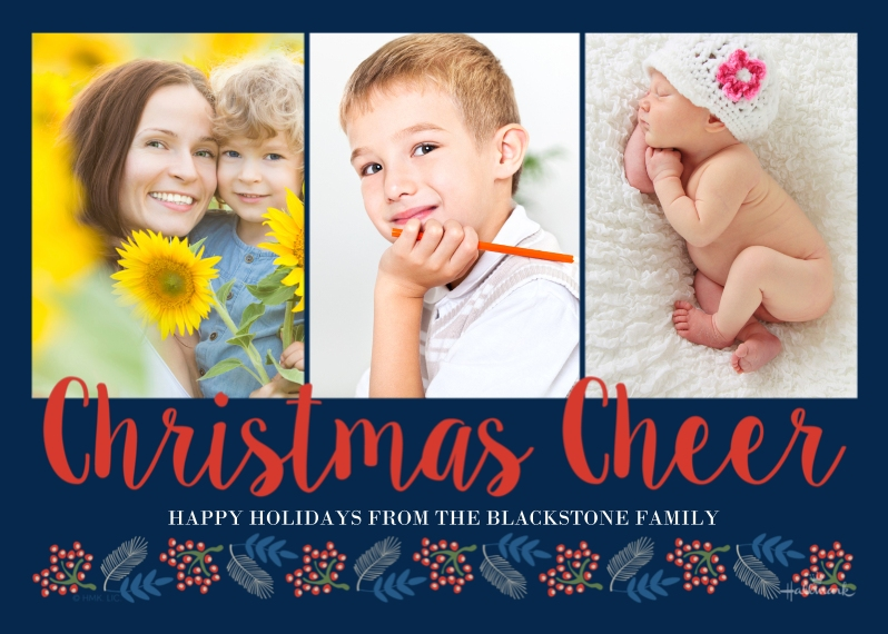 Christmas Photo Cards 5x7 Cards, Premium Cardstock 120lb with Elegant Corners, Card & Stationery -Christmas Cheer Script
