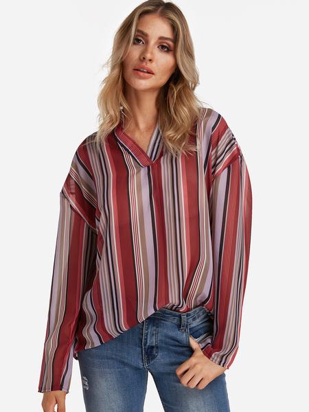 Yoins Red Stripe V-neck Long Sleeves Curve Hem Loose Fit Shirt
