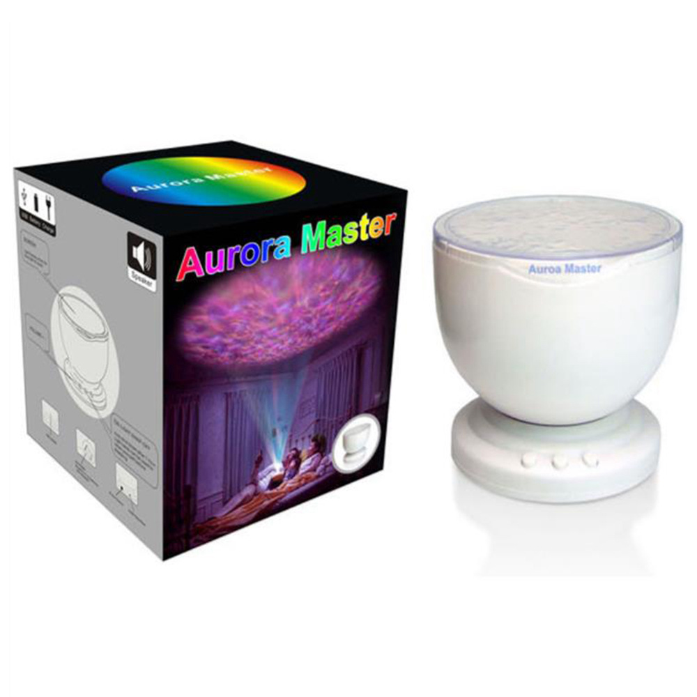 Aurora Master Night Light Ocean Wave Projector Music Player Speaker LED Night Light Colorful Sky Starry - White/US Plug