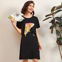 Cartoon Pizza & Slogan Graphic Night Dress