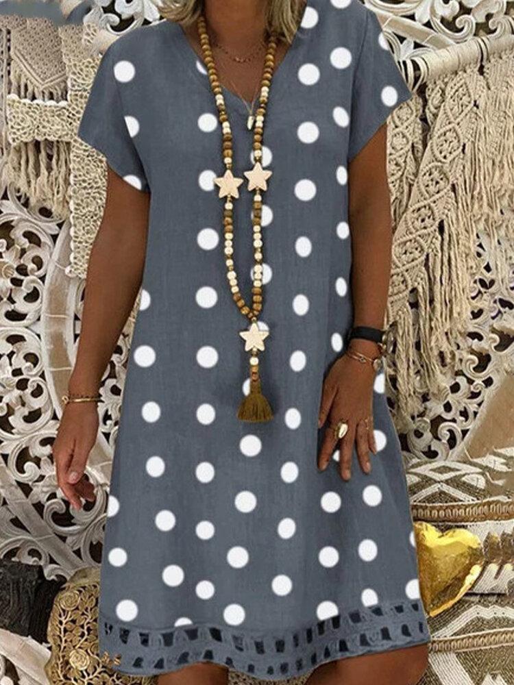 Bohemian Polka Dot Printed V-neck Short Sleeve Midi Dress
