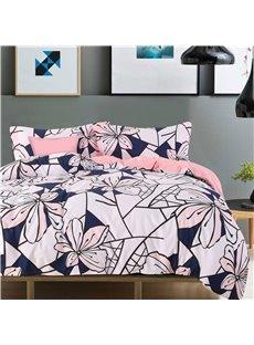 Adorila 60S Brocade Peachy Pink Flowers Creative Design 4-Piece Cotton Bedding Sets