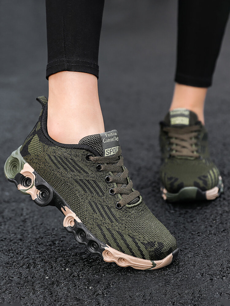 Women Breathable Mesh Knitted Lace Up Camouflage Casual Sport Shoes