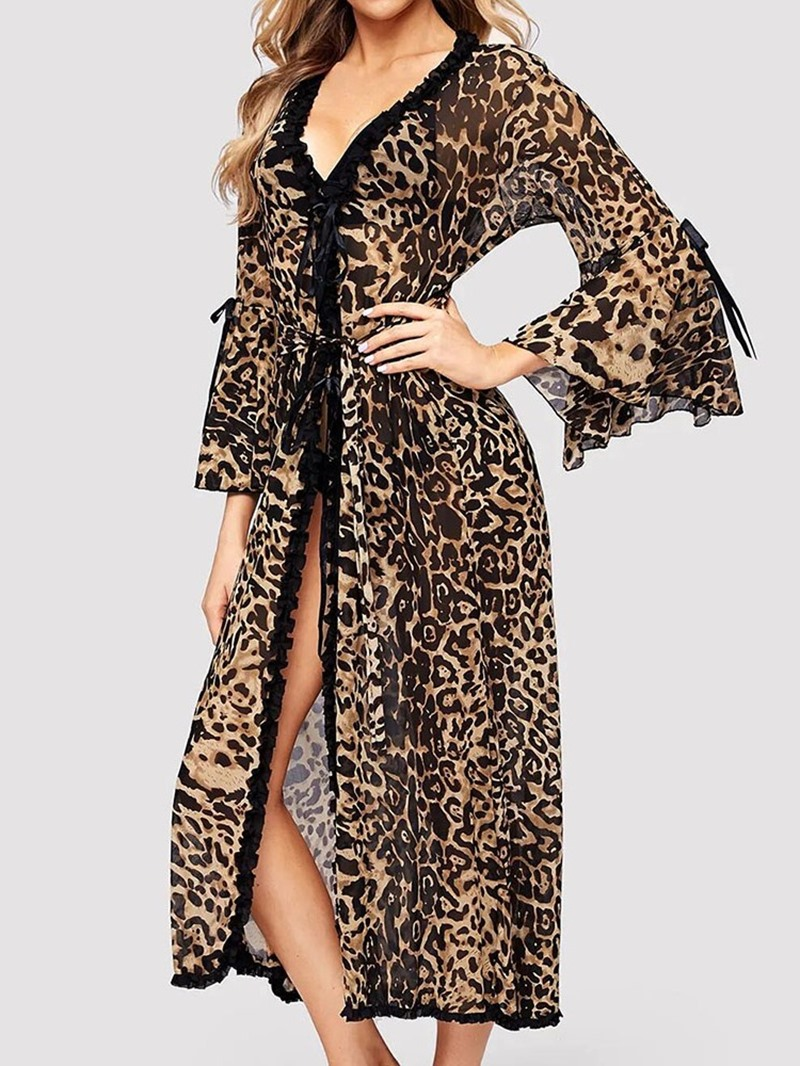 Ericdress Single Print Leopard Loose Nine Points Sleeve Night-Robes