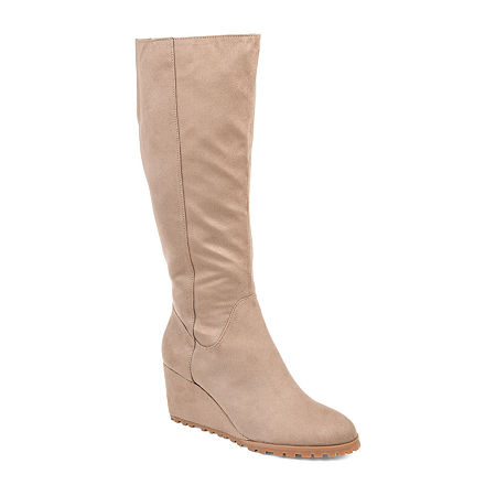 Journee Collection Womens Parker-Xwc Dress Wedge Heel Zip Boots, 7 1/2 Medium, Beige