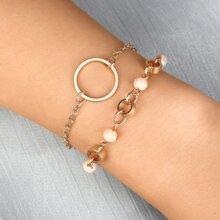Round Decor Layered Bracelet