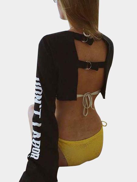 Yoins Black Active Round Neck Cut Out Letter Pattern Backless Design Crop Sweatshirt