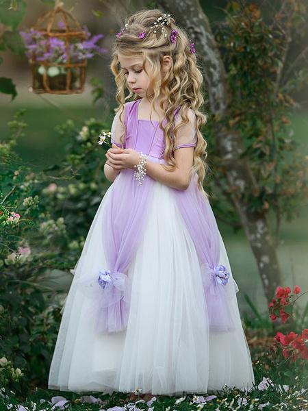 Milanoo Flower Girl Dresses Square Neck Taffeta Short Sleeves Ankle Length Princess Silhouette Flowers Kids Social Party Dresses