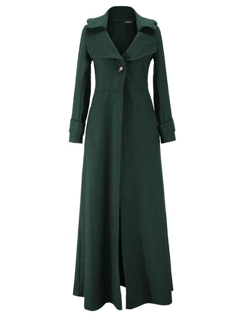 Ericdress Slim Lapel Plain Long Coat