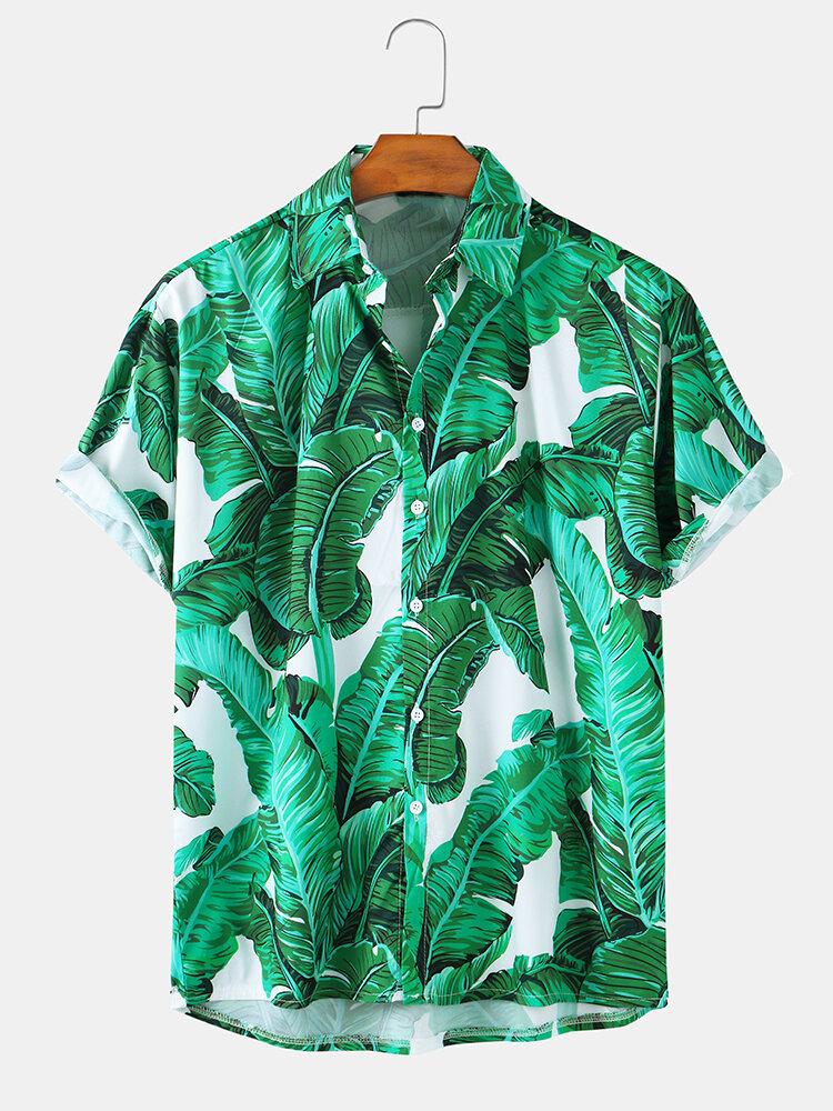 Mens Holiday Printed Hip-Hop Loose Casual Short Sleeve Shirts
